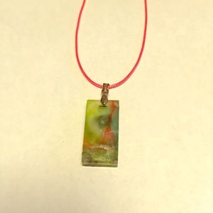 Green and pink and silver necklace